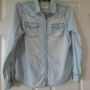 Roll-Tab Sleeve Button Front Denim-Like Top